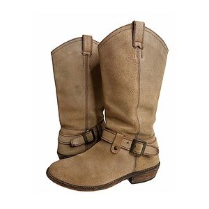Steve Madden Lawson Western Boots Taupe Leather 9